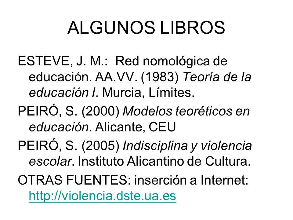 ALGUNOS LIBROS ESTEVE, J. M.: Red nomológica de educación. AA.VV. (1983) Teoría de la educación I. Murcia, Límites.