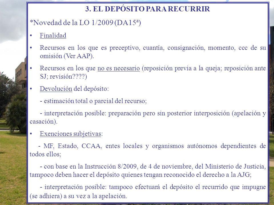 3. EL DEPÓSITO PARA RECURRIR