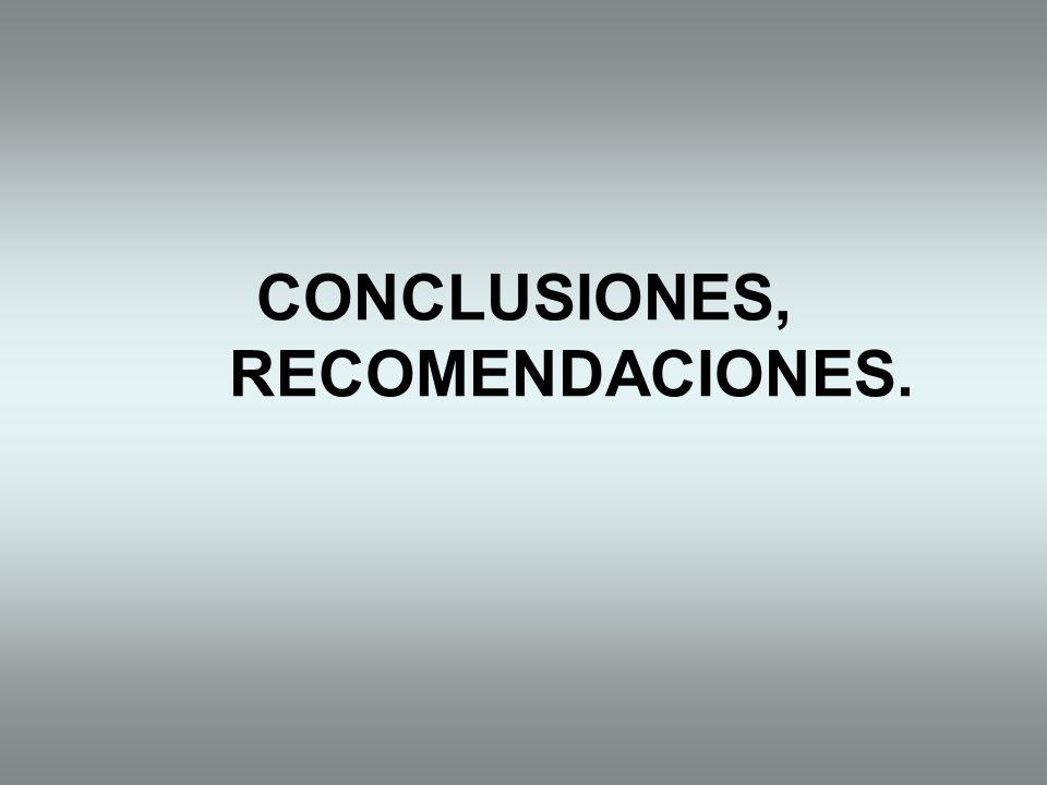 CONCLUSIONES, RECOMENDACIONES.