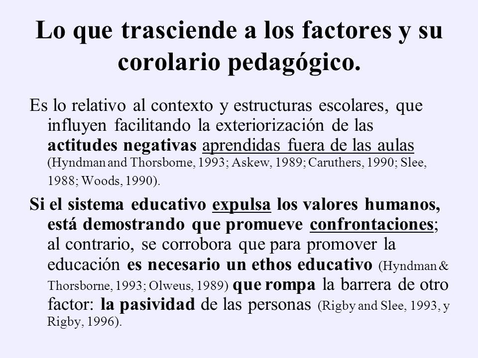 Lo que trasciende a los factores y su corolario pedagógico.