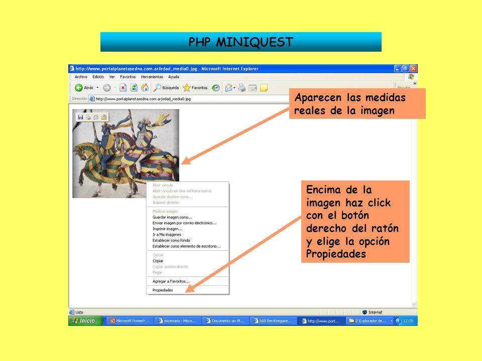 PHP MINIQUEST Aparecen las medidas reales de la imagen