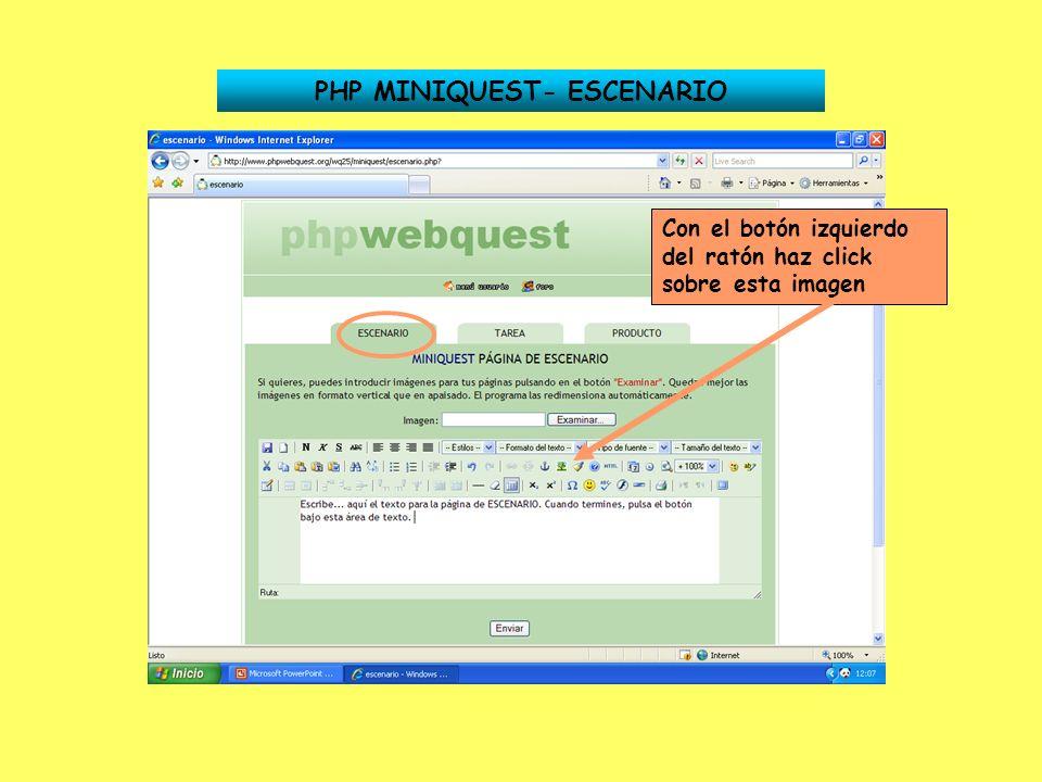 PHP MINIQUEST- ESCENARIO