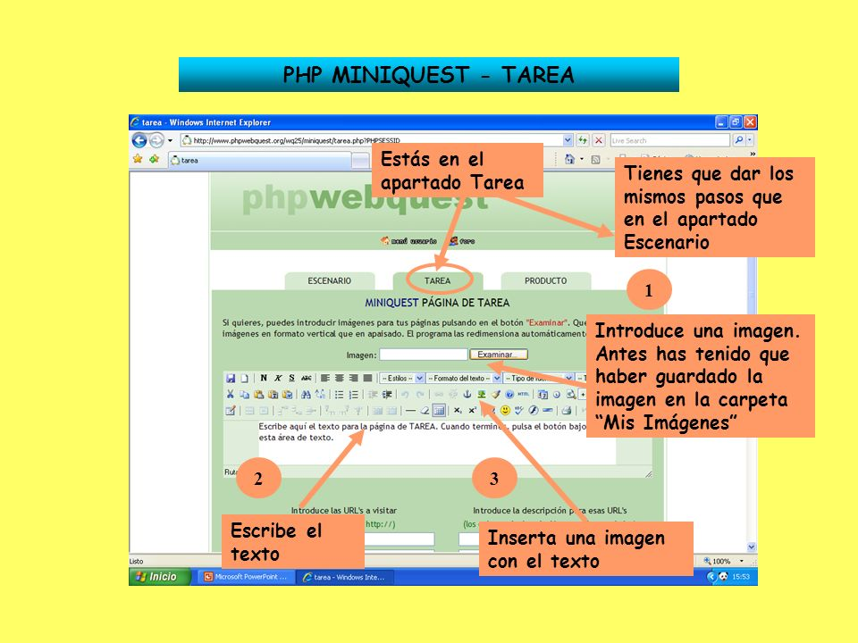 PHP MINIQUEST - TAREA Estás en el apartado Tarea