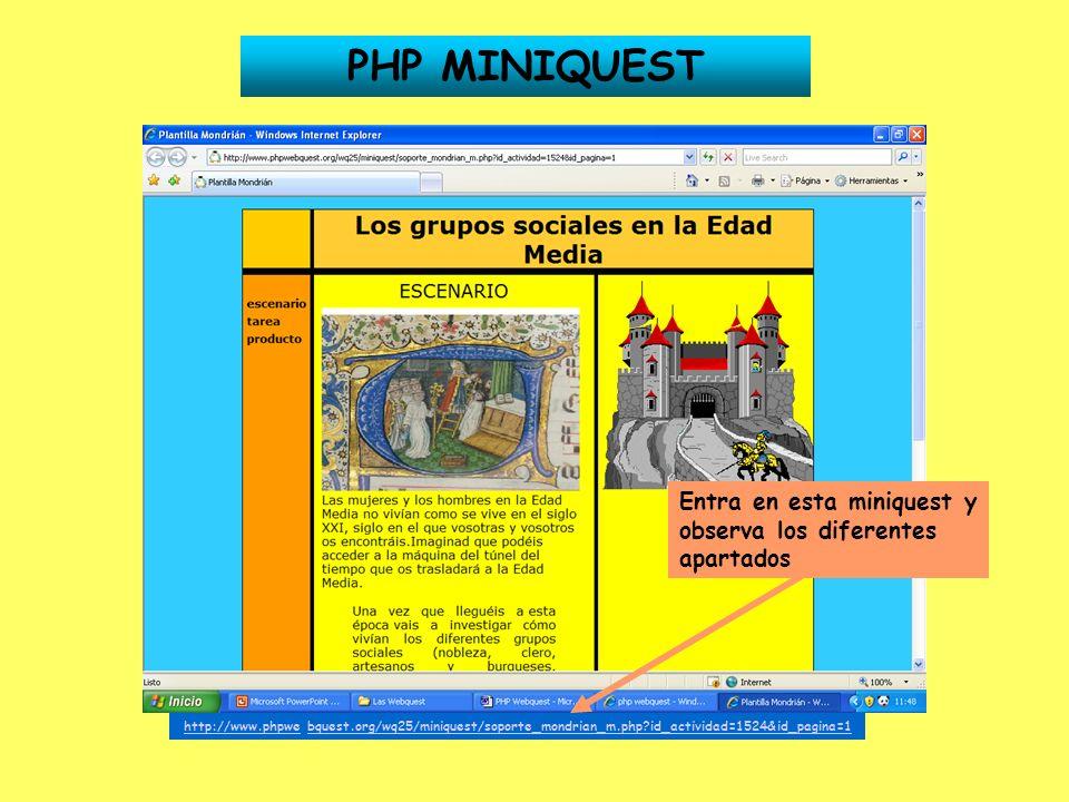 PHP MINIQUEST Entra en esta miniquest y observa los diferentes apartados.