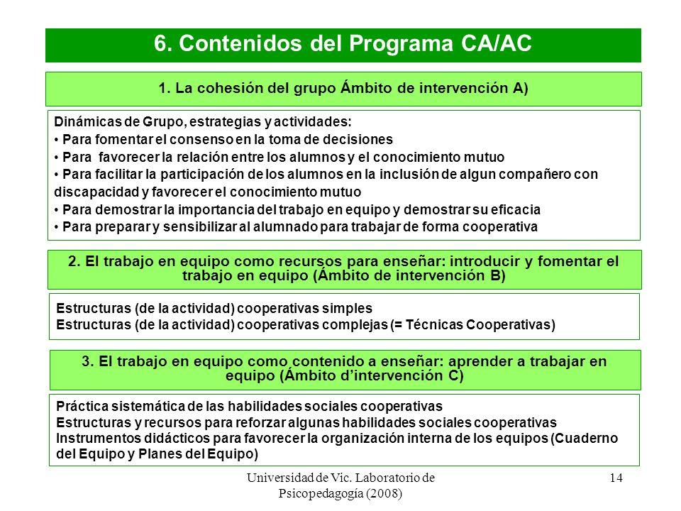 6. Contenidos del Programa CA/AC