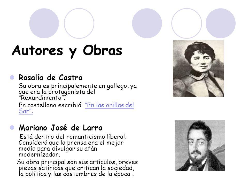 Autores y Obras Rosalía de Castro Mariano José de Larra