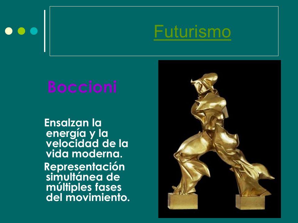 Futurismo Boccioni. Ensalzan la energía y la velocidad de la vida moderna.