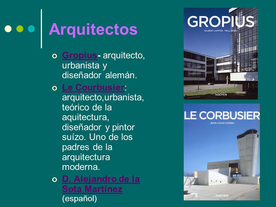 Arquitectos Gropius- arquitecto, urbanista y diseñador alemán.