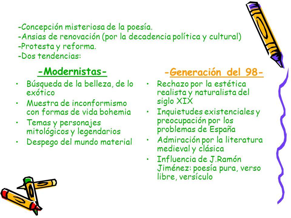 -Modernistas- -Generación del 98-