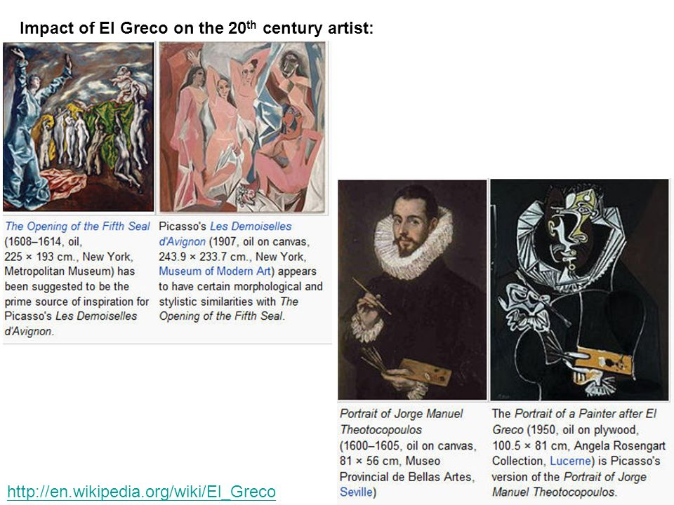 Impact of El Greco on the 20th century artist: