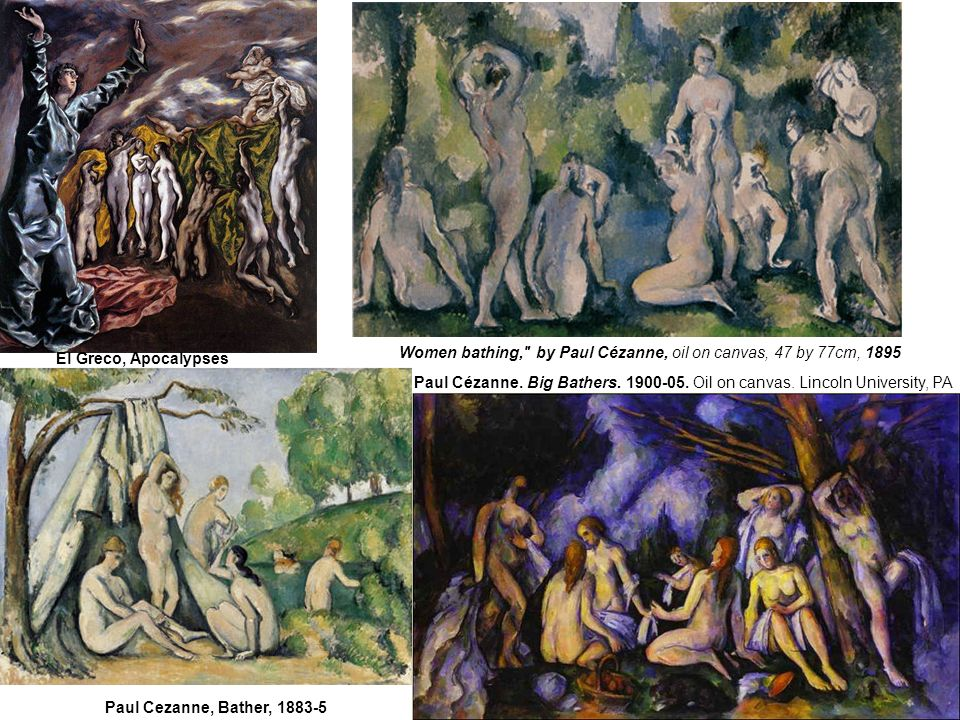 El Greco, Apocalypses Women bathing, by Paul Cézanne, oil on canvas, 47 by 77cm, 1895.