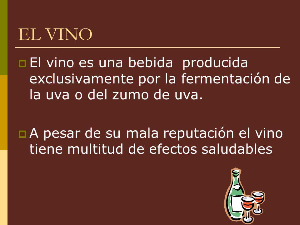 EL VINO El vino es una bebida producida exclusivamente por la fermentación de la uva o del zumo de uva.