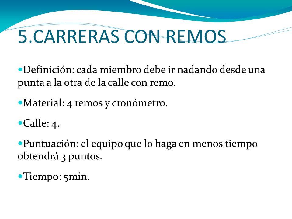 5.CARRERAS CON REMOS Definición: cada miembro debe ir nadando desde una punta a la otra de la calle con remo.