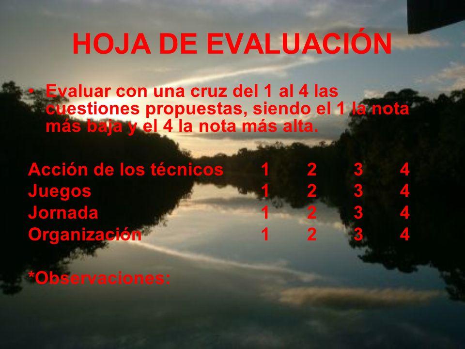 HOJA DE EVALUACIÓN Evaluar con una cruz del 1 al 4 las cuestiones propuestas, siendo el 1 la nota más baja y el 4 la nota más alta.