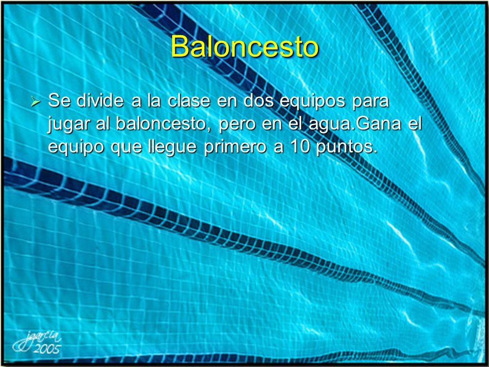 Baloncesto Se divide a la clase en dos equipos para jugar al baloncesto, pero en el agua.Gana el equipo que llegue primero a 10 puntos.