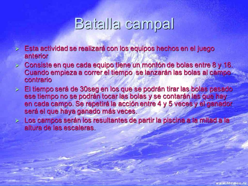 Batalla campal Esta actividad se realizará con los equipos hechos en el juego anterior.