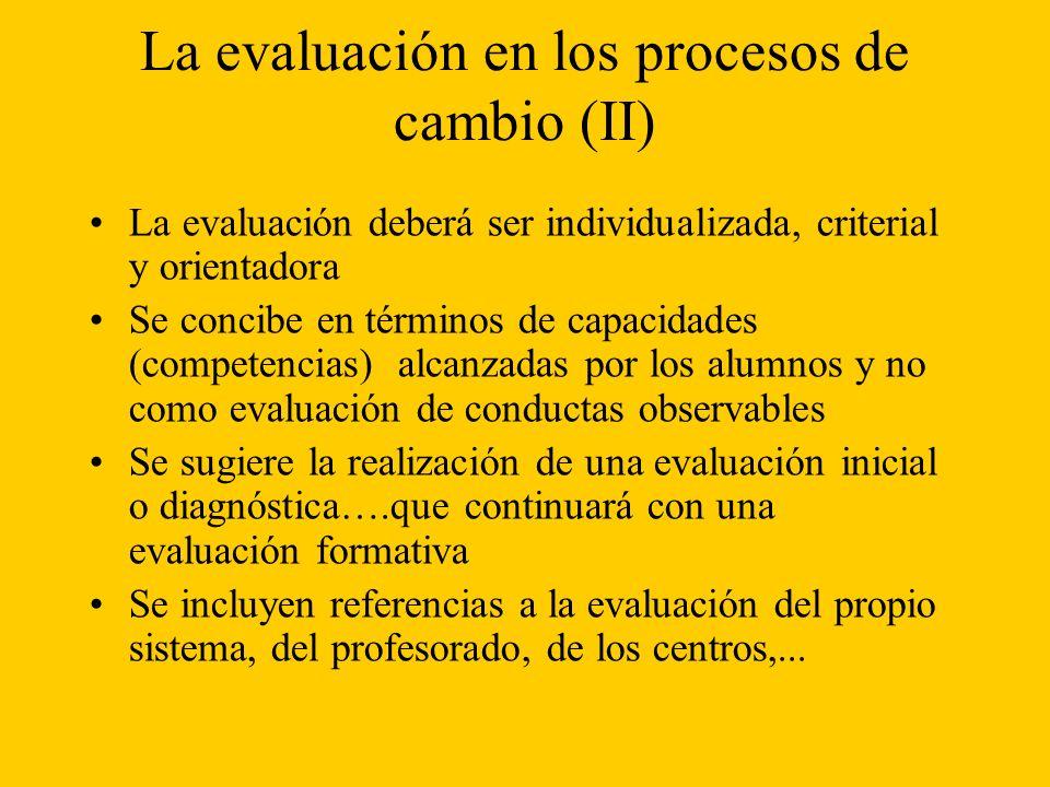 La evaluación en los procesos de cambio (II)