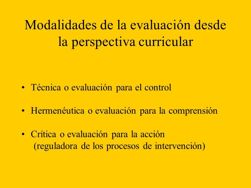 Modalidades de la evaluación desde la perspectiva curricular