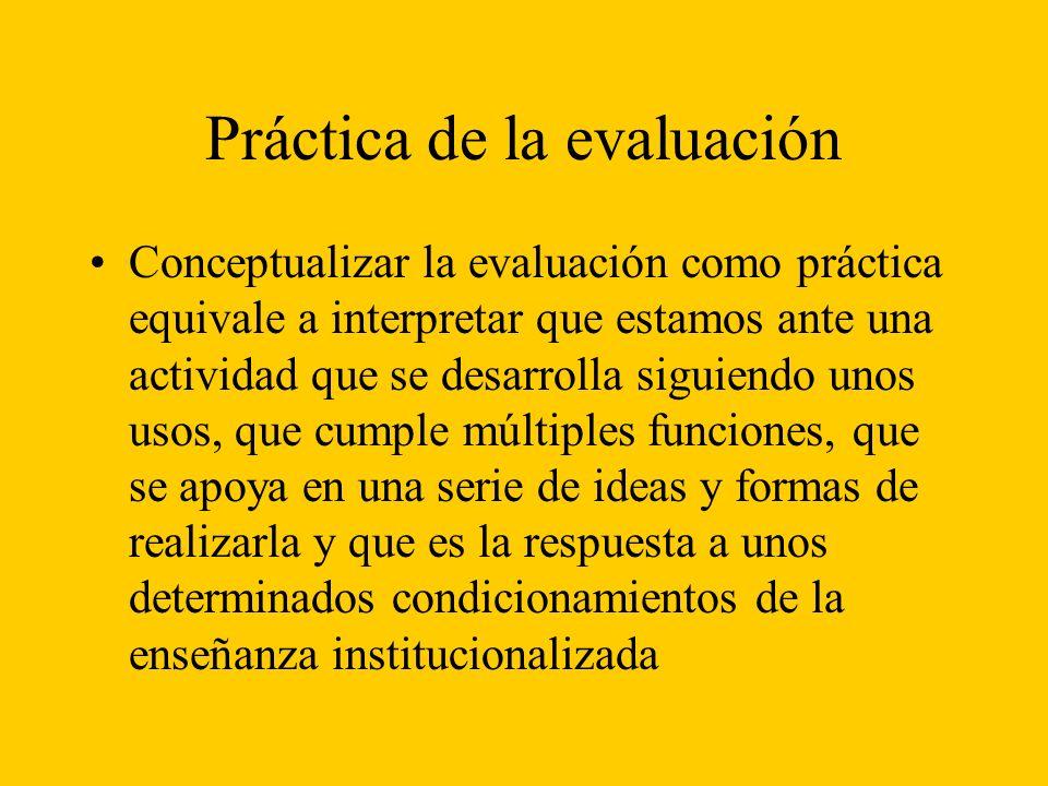 Práctica de la evaluación