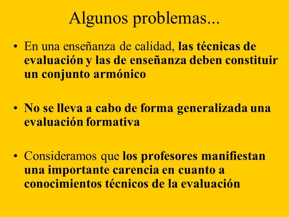 Algunos problemas... En una enseñanza de calidad, las técnicas de evaluación y las de enseñanza deben constituir un conjunto armónico.