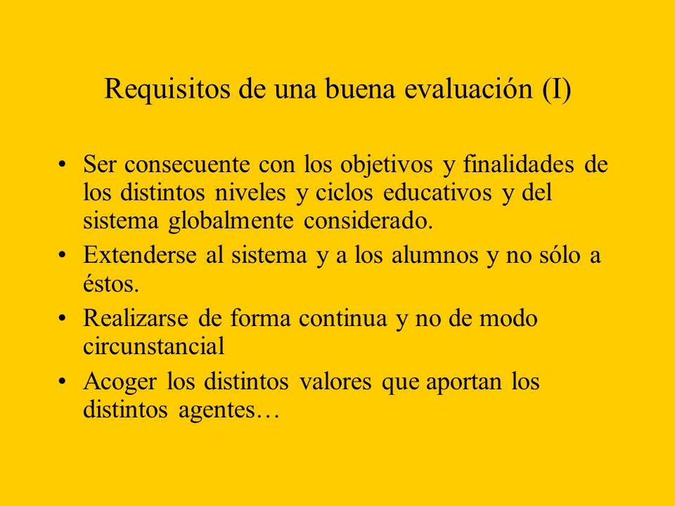 Requisitos de una buena evaluación (I)