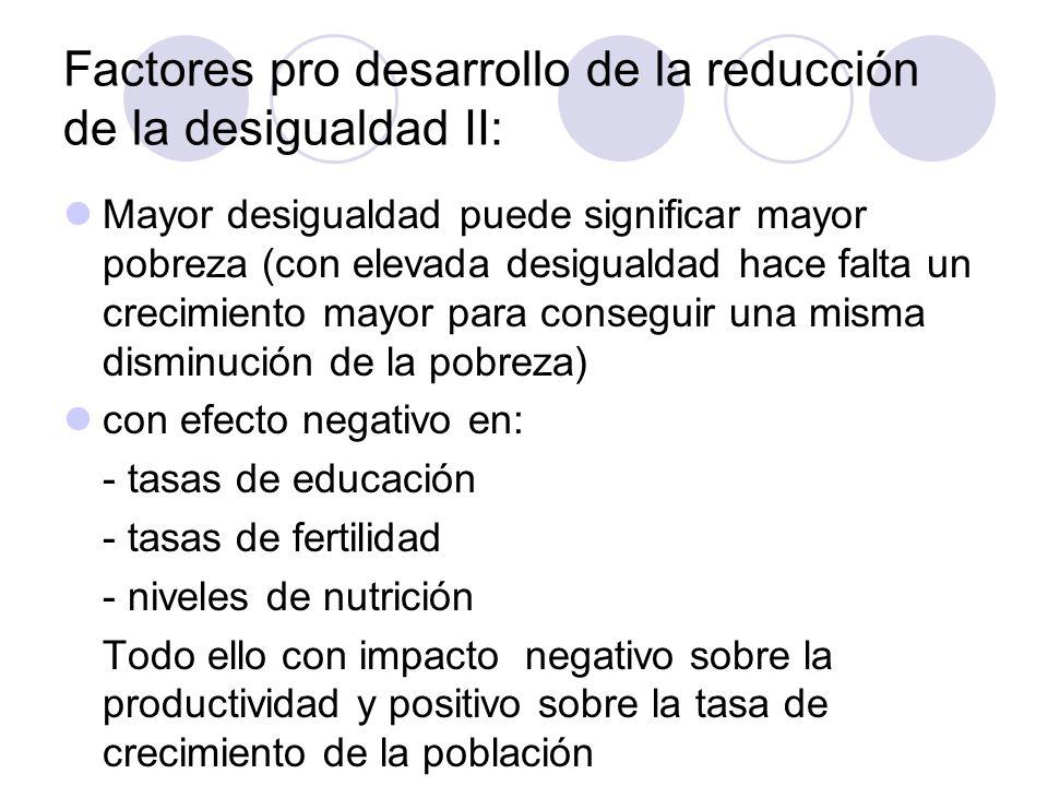 Factores pro desarrollo de la reducción de la desigualdad II: