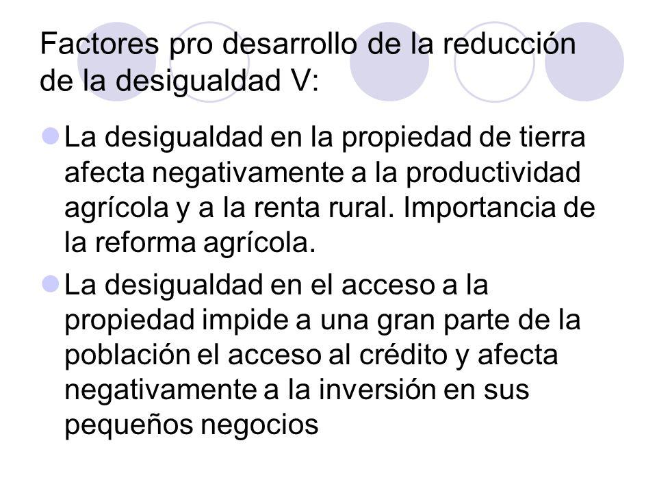 Factores pro desarrollo de la reducción de la desigualdad V: