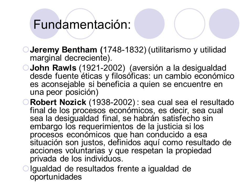 Fundamentación: Jeremy Bentham (1748-1832) (utilitarismo y utilidad marginal decreciente).