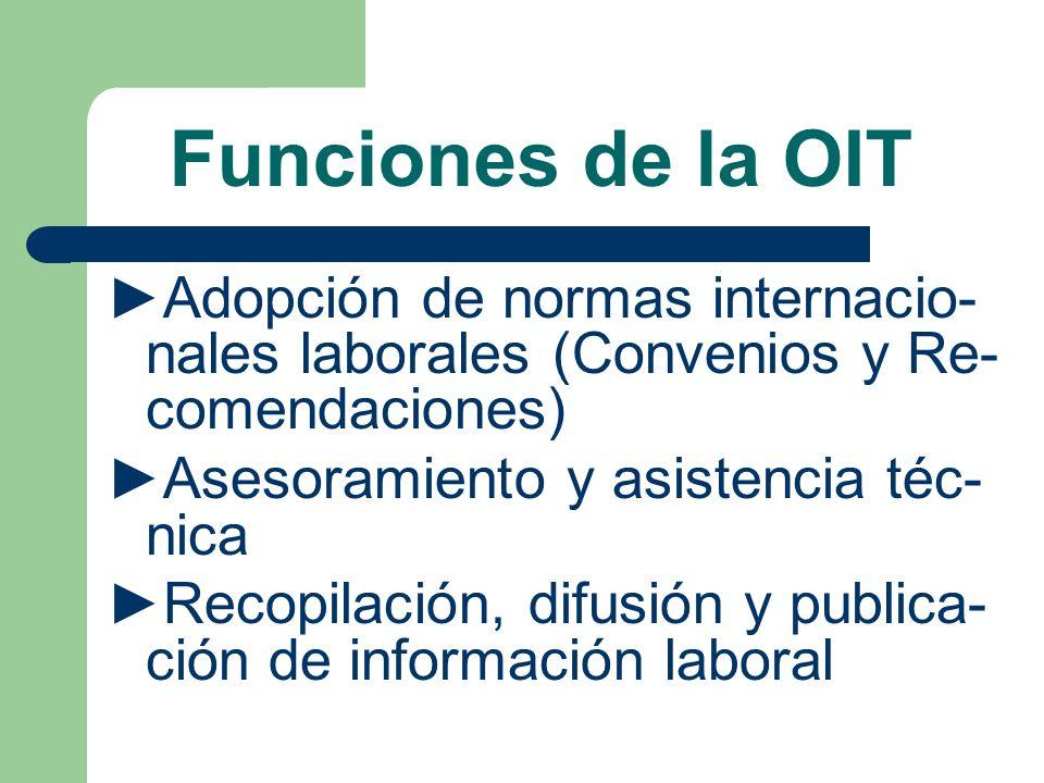 Funciones de la OIT ►Adopción de normas internacio-nales laborales (Convenios y Re-comendaciones) ►Asesoramiento y asistencia téc-nica.