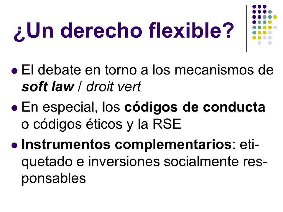 ¿Un derecho flexible El debate en torno a los mecanismos de soft law / droit vert. En especial, los códigos de conducta o códigos éticos y la RSE.