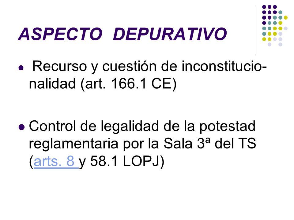 ASPECTO DEPURATIVO Recurso y cuestión de inconstitucio-nalidad (art. 166.1 CE)