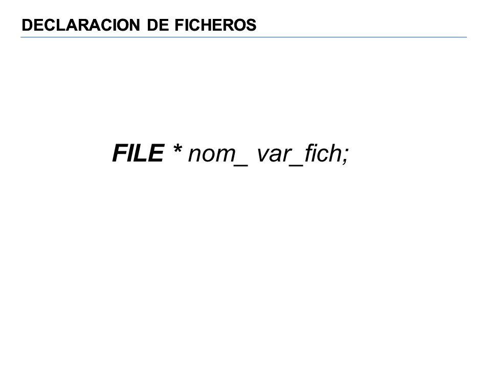 DECLARACION DE FICHEROS