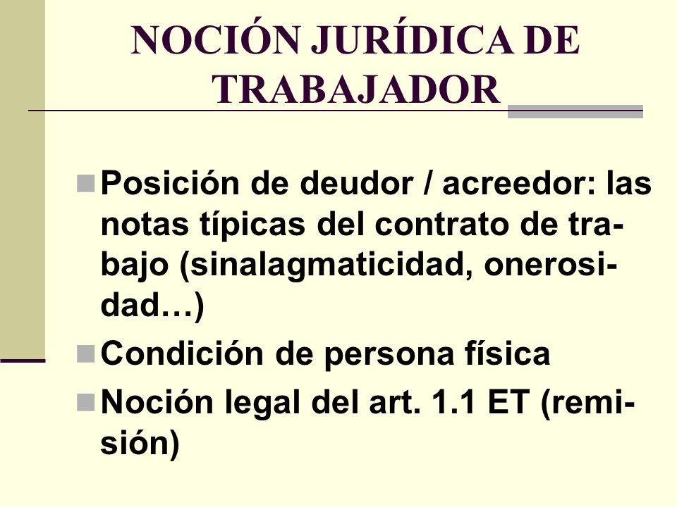 NOCIÓN JURÍDICA DE TRABAJADOR