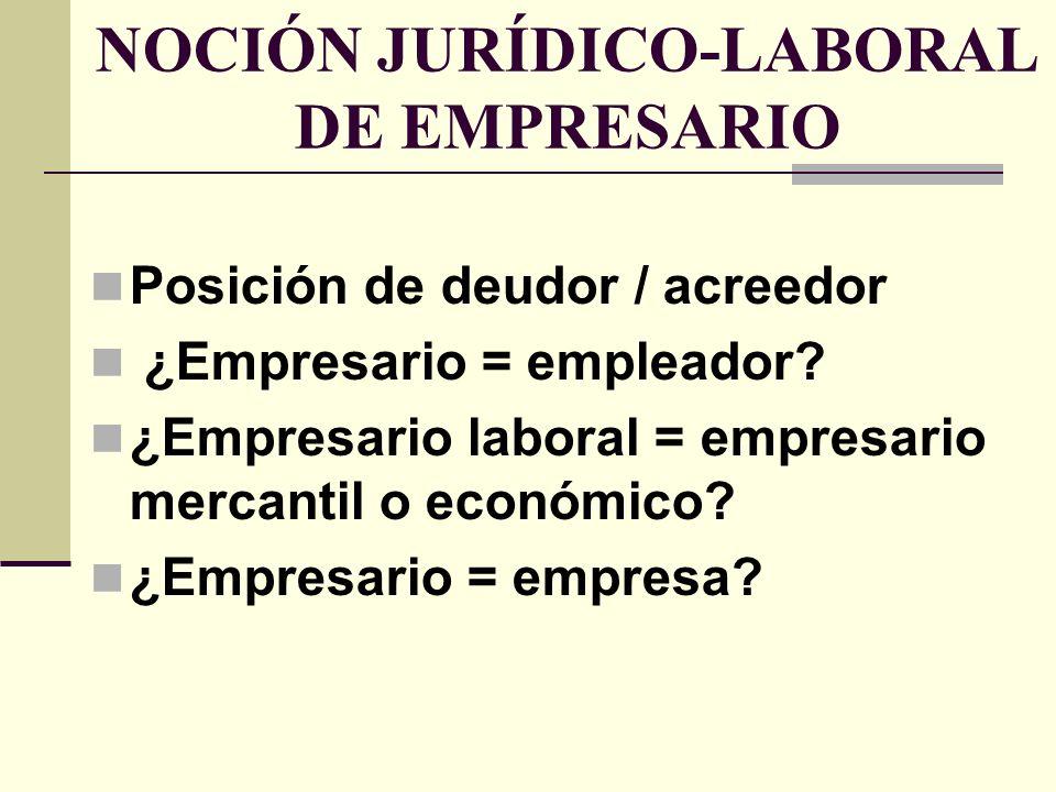 NOCIÓN JURÍDICO-LABORAL DE EMPRESARIO
