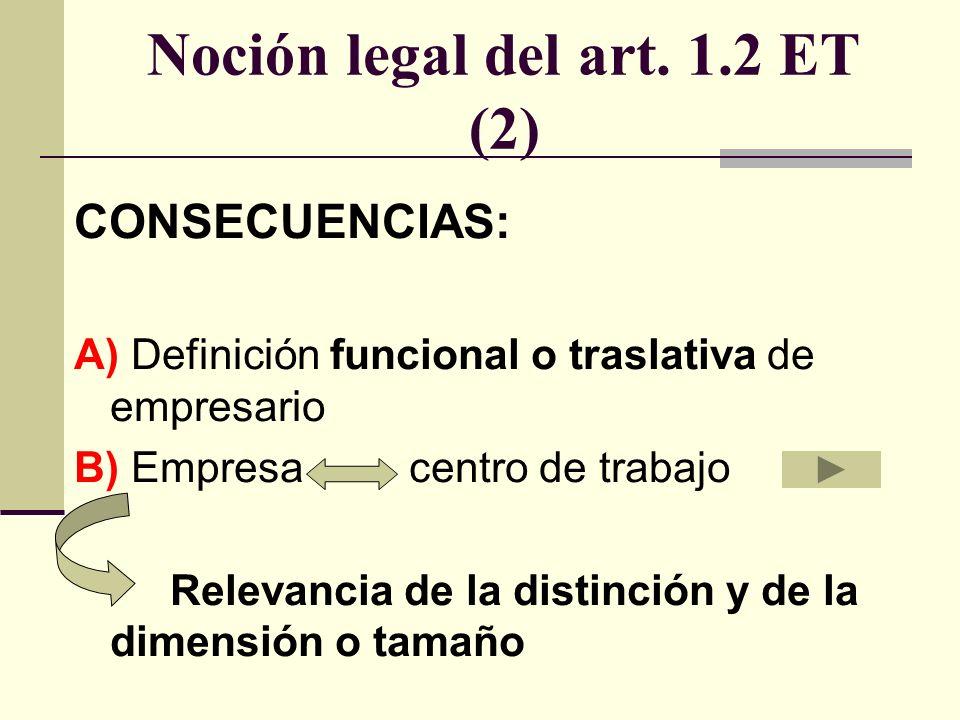 Noción legal del art. 1.2 ET (2)