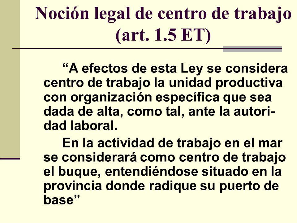 Noción legal de centro de trabajo (art. 1.5 ET)