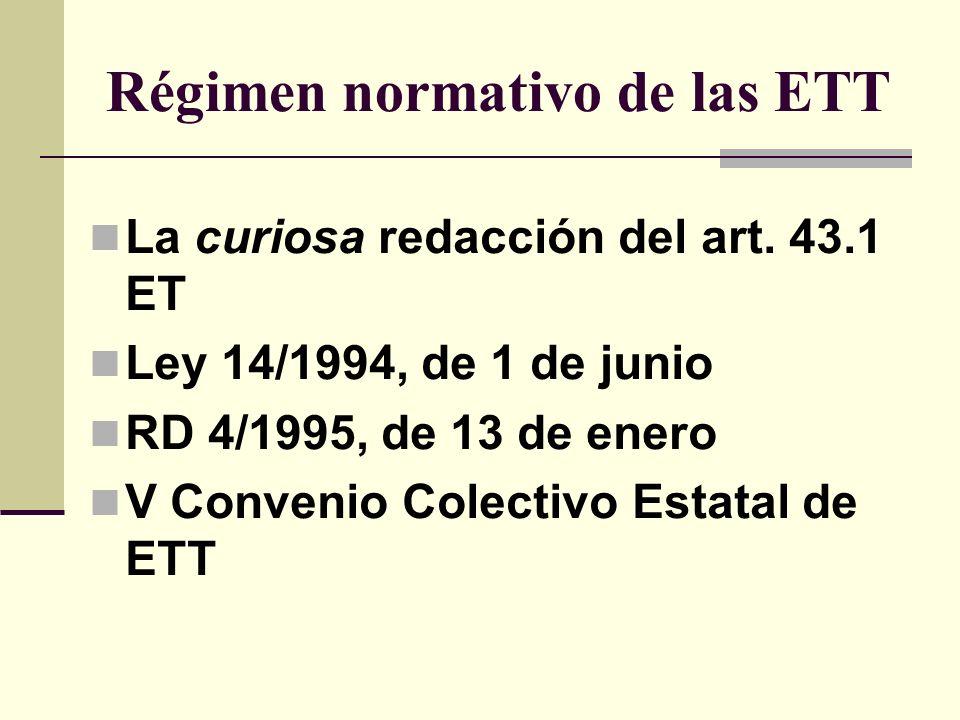Régimen normativo de las ETT
