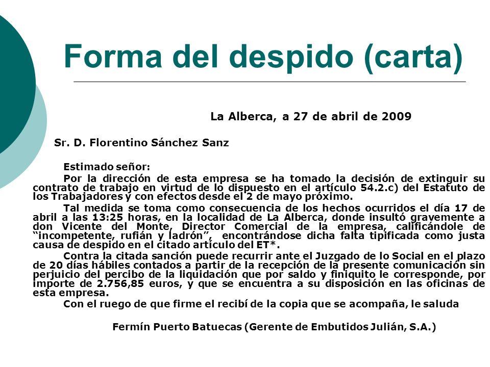 Forma del despido (carta)