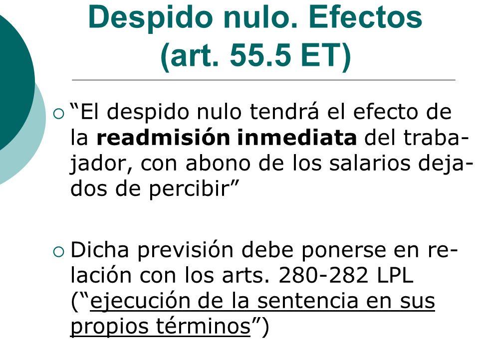 Despido nulo. Efectos (art. 55.5 ET)