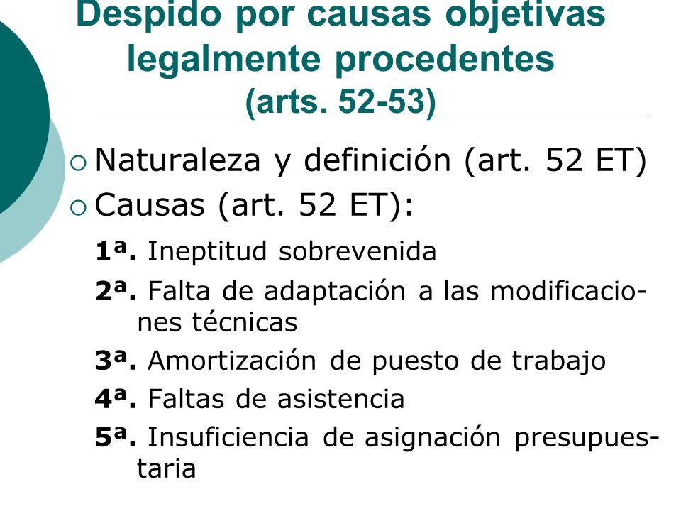 Despido por causas objetivas legalmente procedentes (arts. 52-53)