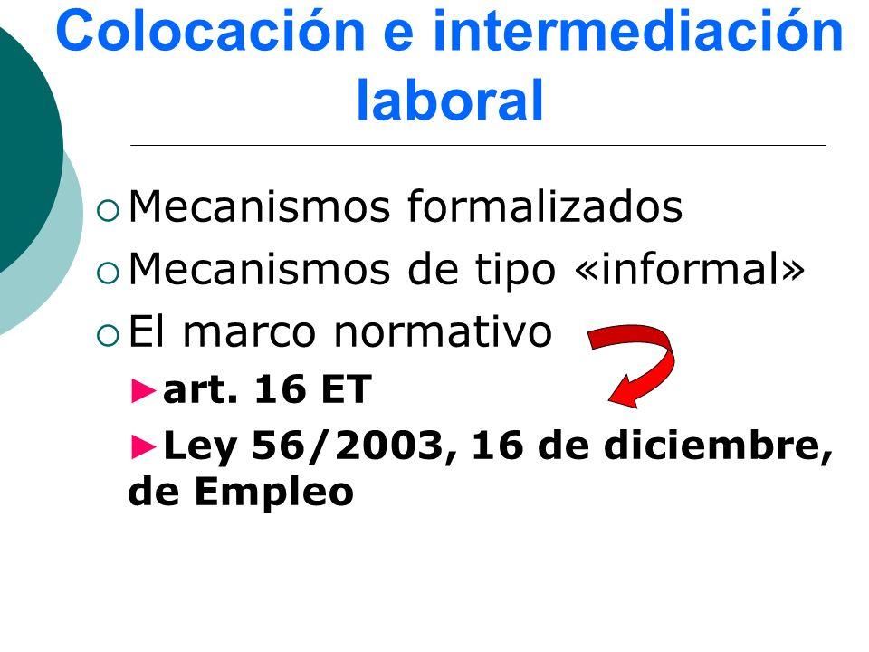Colocación e intermediación laboral