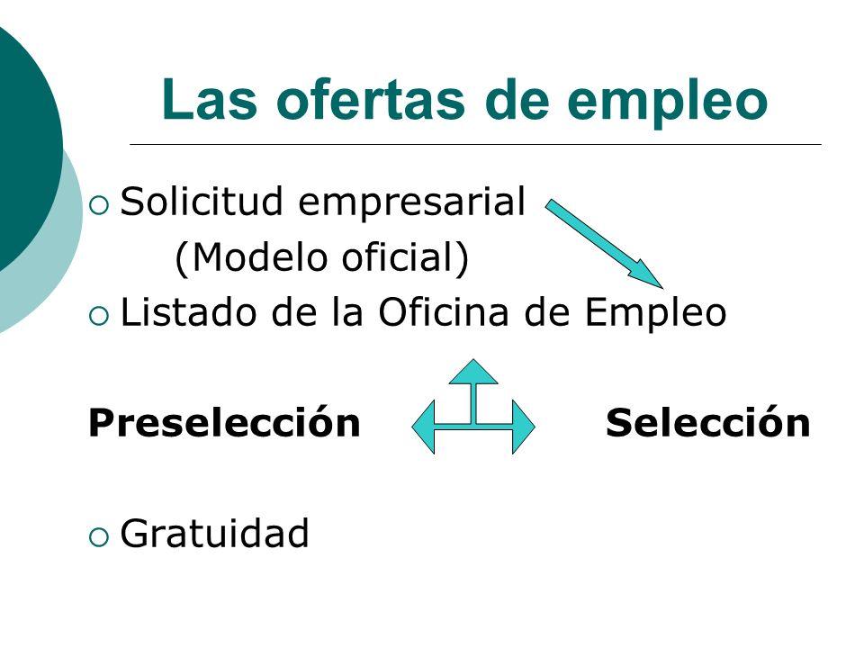 Las ofertas de empleo Solicitud empresarial (Modelo oficial)