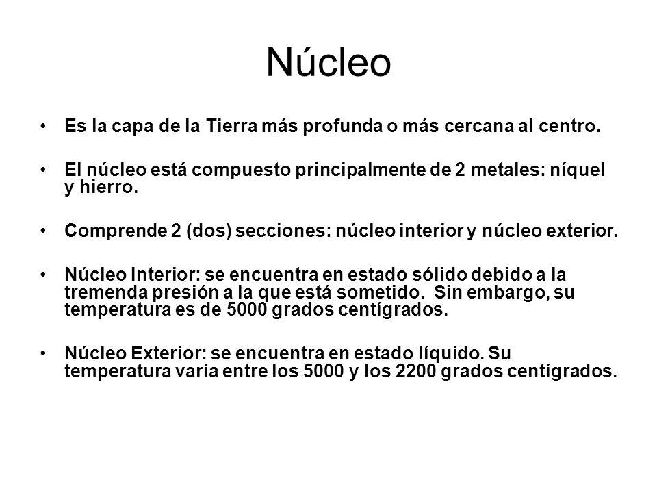 Núcleo Es la capa de la Tierra más profunda o más cercana al centro.