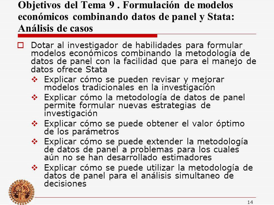 Objetivos del Tema 9 . Formulación de modelos económicos combinando datos de panel y Stata: Análisis de casos