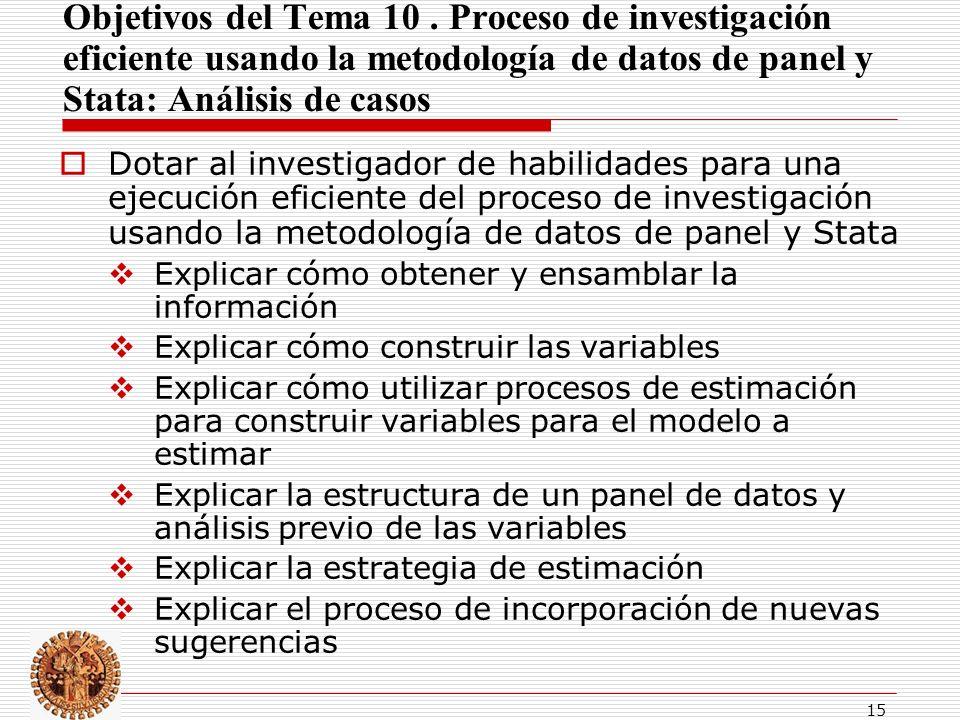 Objetivos del Tema 10 . Proceso de investigación eficiente usando la metodología de datos de panel y Stata: Análisis de casos