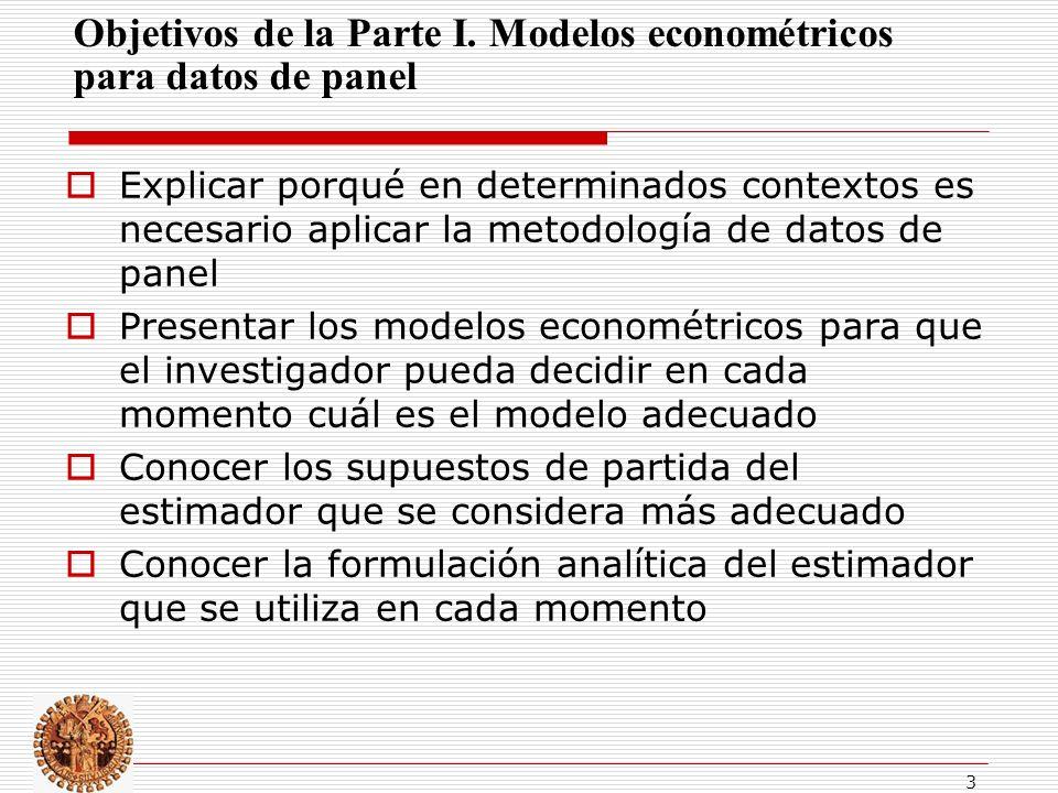 Objetivos de la Parte I. Modelos econométricos para datos de panel