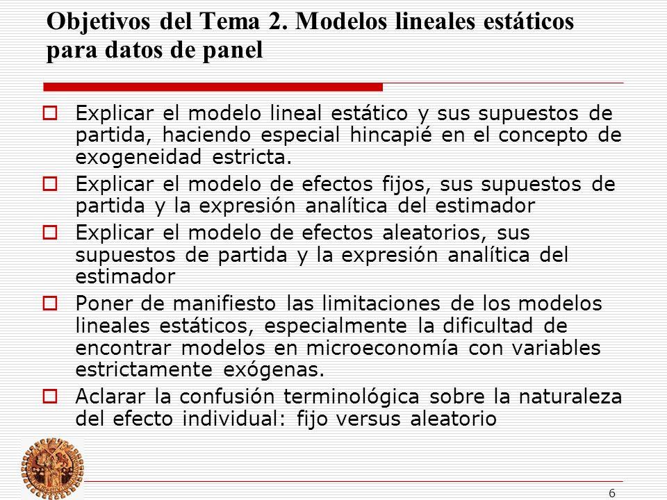 Objetivos del Tema 2. Modelos lineales estáticos para datos de panel