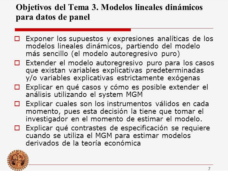 Objetivos del Tema 3. Modelos lineales dinámicos para datos de panel