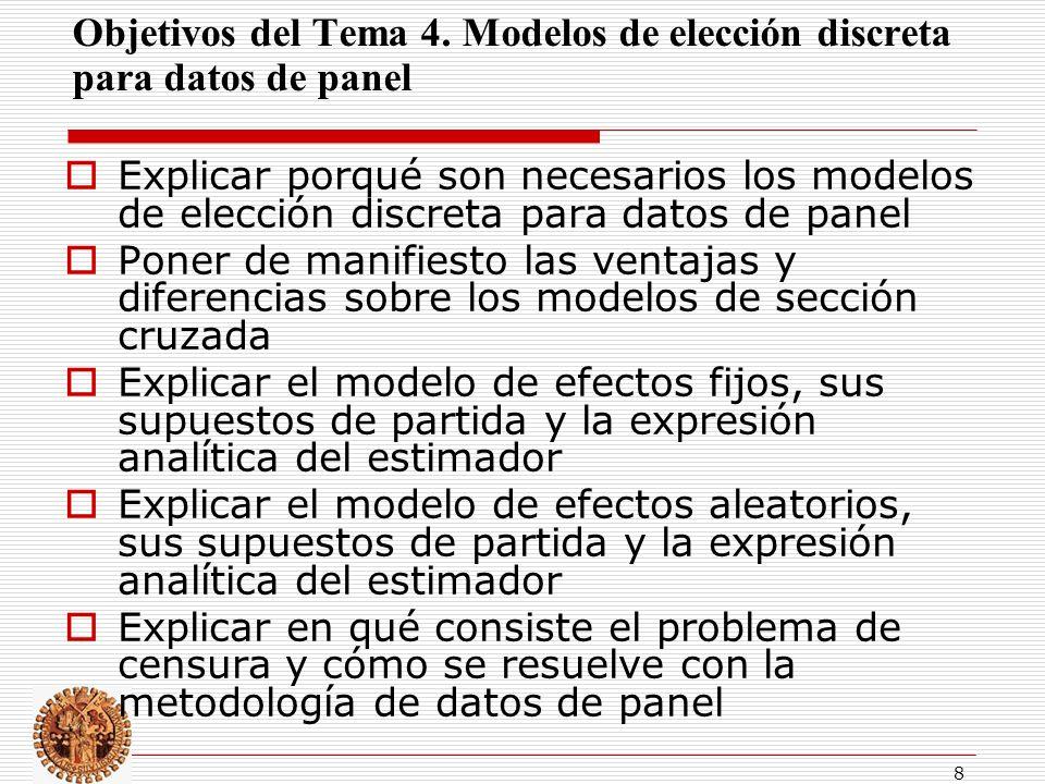 Objetivos del Tema 4. Modelos de elección discreta para datos de panel