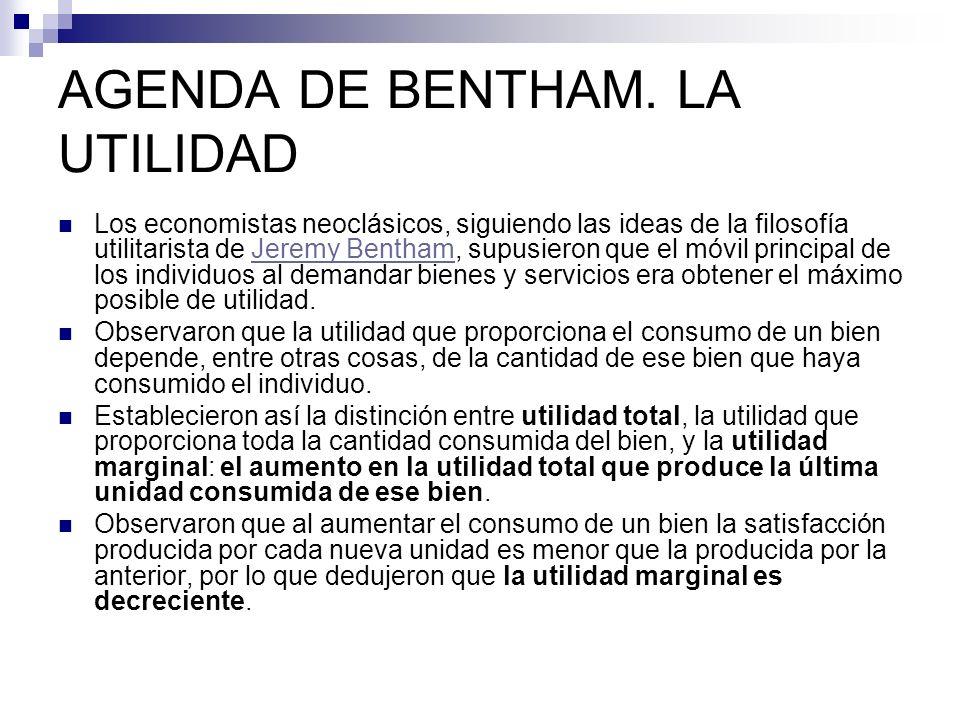AGENDA DE BENTHAM. LA UTILIDAD